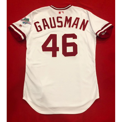 Photo of Kevin Gausman -- Game-Used 1990 Throwback Jersey (Relief Pitcher: 2.0 IP, 0 H, 0 R, 6 SO) -- Recorded 6th Immaculate Inning in Reds History -- Cardinals vs. Reds on Aug. 18, 2019 -- Jersey Size 44
