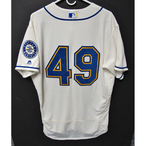 Photo of Seattle Mariners Wade LeBlanc Game-Used Marineros Jersey (Salute to Latin American) 9-15-2019