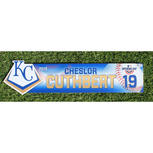 Photo of Team-Issued Nameplate: 2019 Opening Day - Cheslor Cuthbert