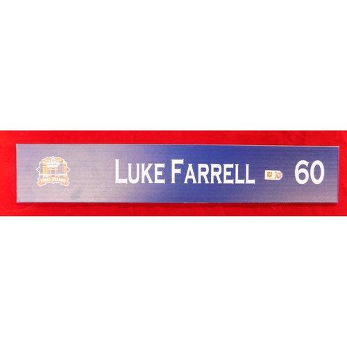 Photo of Final Season Game-Used Locker Tag - Luke Farrell - 9/28/19