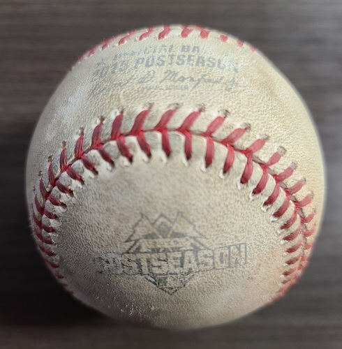 Photo of Authenticated Game Used Postseason Baseball: Warm Up Pitch by Marco Estrada (Oct 16, 2015 vs KCR: ALCS Game 1). Pre-Bottom 3.