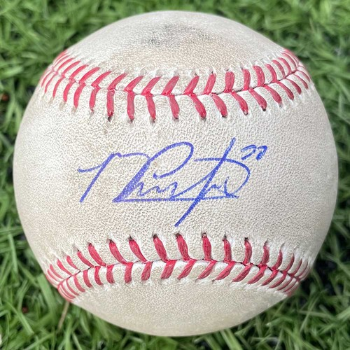 Photo of Michael Conforto #30 - Autographed Game Used Baseball - Brandon Cunniff to Michael Conforto - Pitch in the Dirt - 7th Inning - Mets vs. Braves - 9/21/16