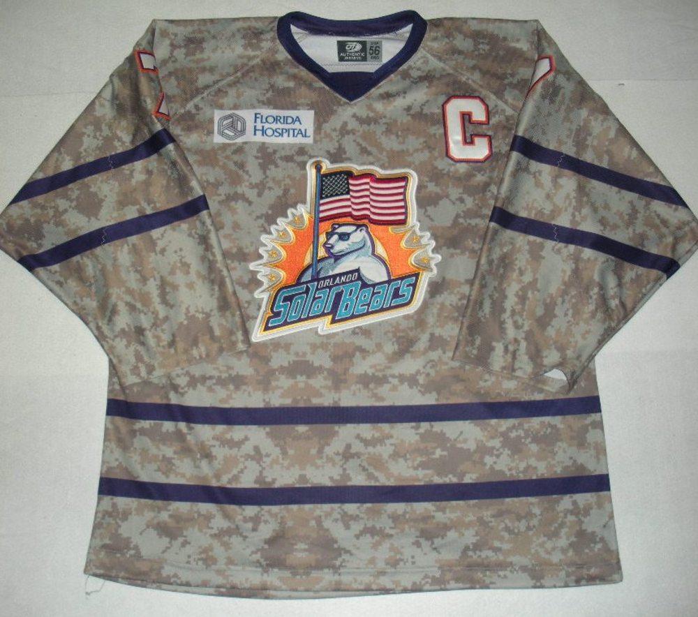 Orlando Solar Bears - Eric Baier - Military Appreciation Night Camo Game-Worn Jersey w/C