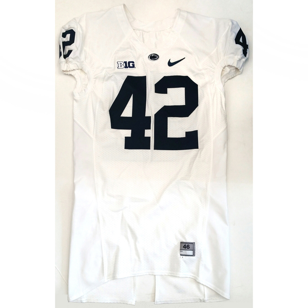 Photo of Penn State Game-Used Football Jersey: White #42 (Size 46)
