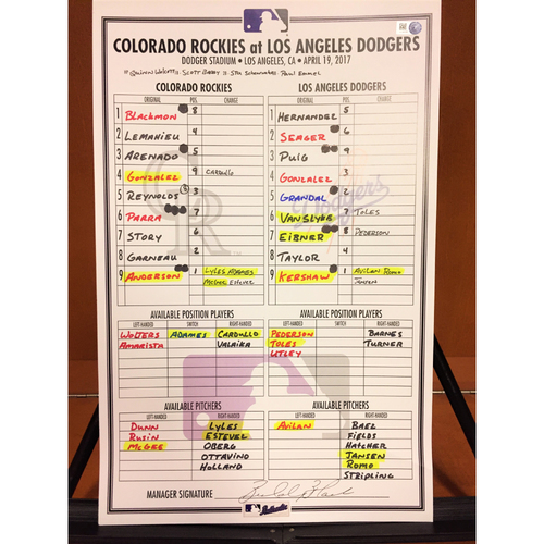Photo of Colorado Rockies Game-Used Line-Up Card: Corey Seager Drives in 100th Career RBI - Clayton Kershaw gets 129th Career Win - 4/19/17