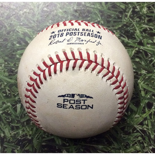 Photo of Game-Used Baseball NLDS Game 2 COL@MIL 10/05/18 - Harrison Musgrave - Christian Yelich: Walk