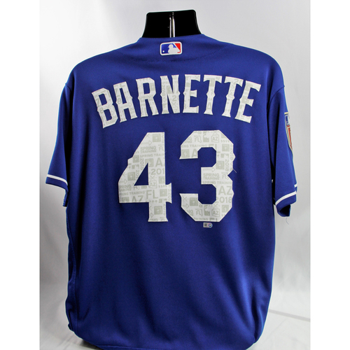 Photo of Game-Used Blue Spring Training Jersey - Tony Barnette - 3/8/18, 3/10/18