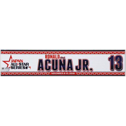 Photo of 2018 Japan Series Game-Used Locker Tag - Ronald Acuna Jr. -  Braves