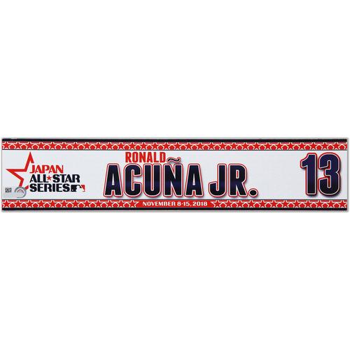 Photo of 2018 Japan Series Game-Used Locker Tag - Ronald Acuna Jr. -  Braves