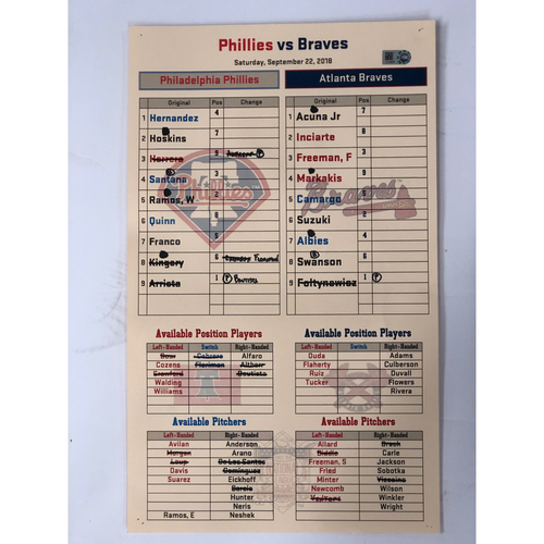 Photo of Game-Used Lineup Card - From Bullpen - 9/22/18 - Braves Clinch NL East Division Title