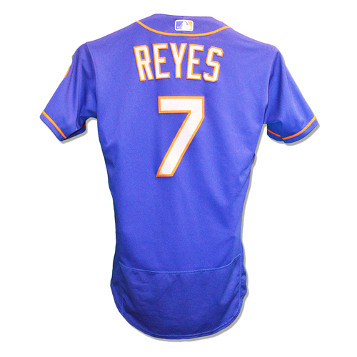 Photo of Jose Reyes #7 - Game Used Blue Alt. Road Jersey - 2-5, RBI, 3 Runs Scored - Mets vs. Phillies - 8/16/18 - Mets vs. Red Sox - 9/15/18