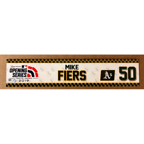 Photo of 2019 Japan Opening Day Series - Game Used Locker Tag - Mike Fiers -  Oakland Athletics