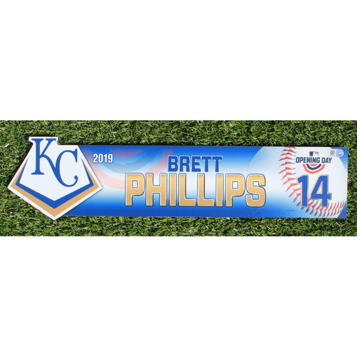 Photo of Team-Issued Nameplate: 2019 Opening Day - Brett Phillips