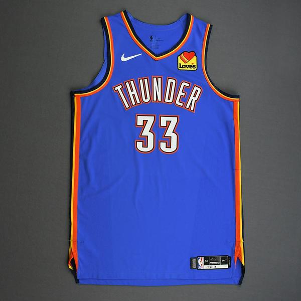 Image of Mike Muscala - Oklahoma City Thunder - Game-Worn Icon Edition Jersey - 2019-20 Season