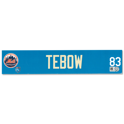 Photo of Tim Tebow #83 - Team Issued Locker Nameplate - 2018 Spring Training