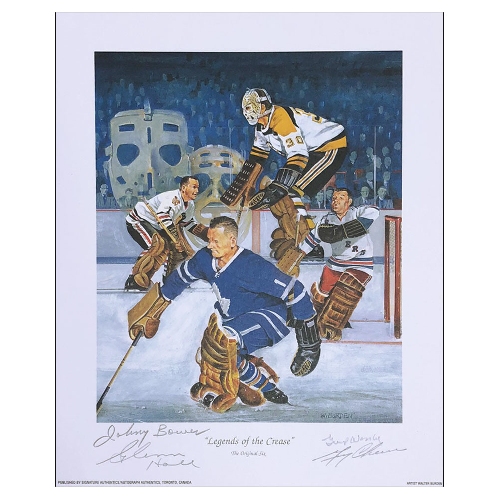Johnny Bower, Glenn Hall, Gump Worsley & Gerry Cheevers Autographed 9X11 Lithograph - Legends of the Crease