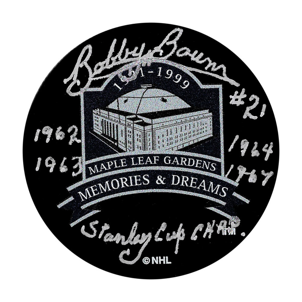 Bobby Baun Autographed Maple Leaf Gardens Memories & Dreams Puck w/Inscription