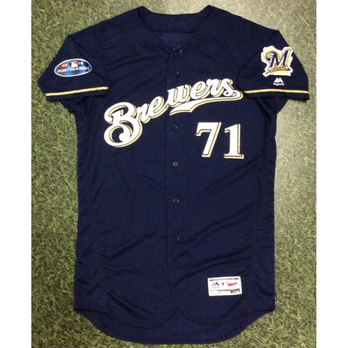 Photo of Josh Hader 2018 Game-Used Postseason Jersey - NLDS Games 1, 2 & 3