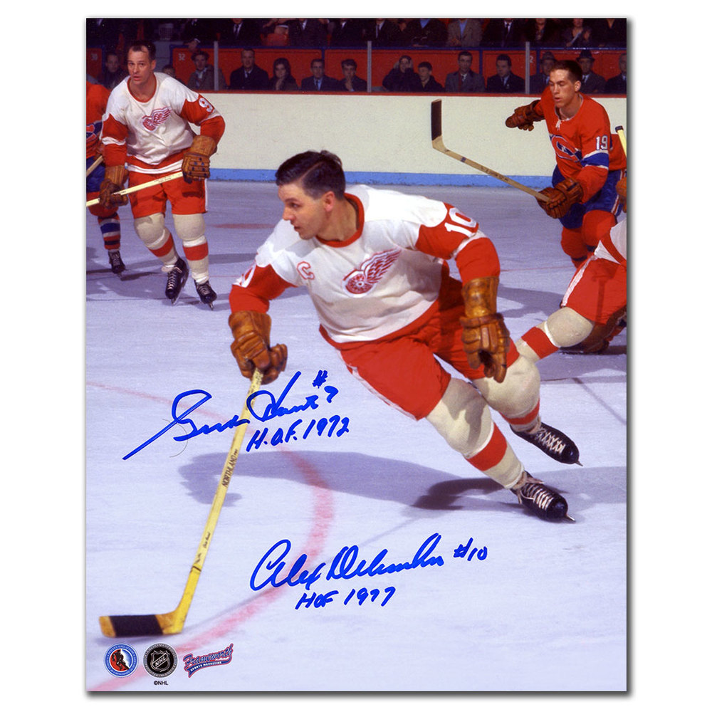 Gordie Howe & Alex Delvecchio Detroit Red Wings HOF Dual Autographed 8x10 Photo