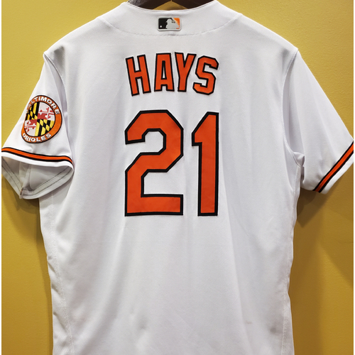 Photo of Austin Hays Game-Used White Home Jersey - April 25, 2021 - Size 46
