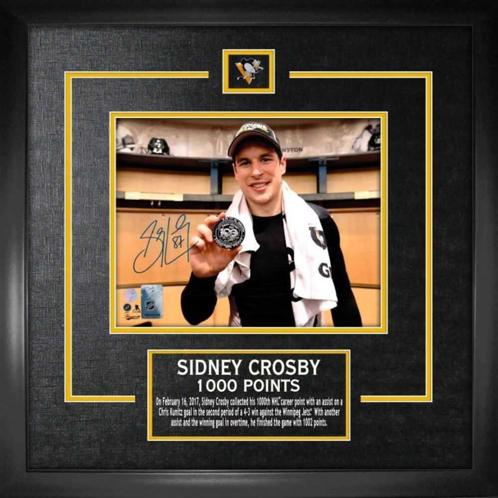 Sidney Crosby - Signed & Framed 8x10 Etched Mat 1000th Point
