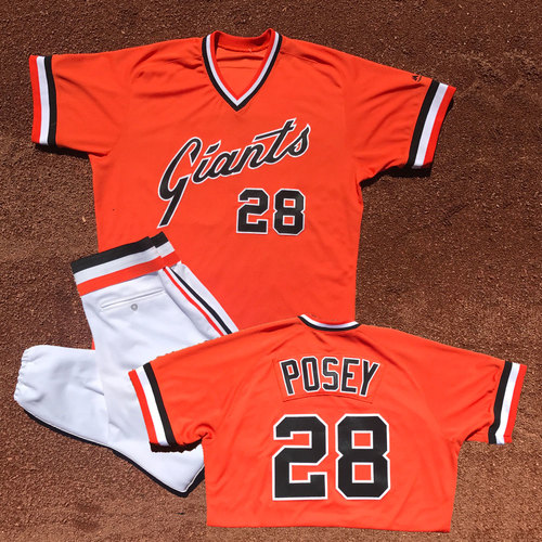 Photo of San Francisco Giants - Game-Used Jersey and Pants - Turn Back the Clock - Buster Posey - Worn on 7/20/16 - 1 for 4, R, BB - Jersey Size - 46