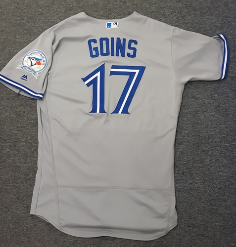 Photo of Authenticated Game Used Jersey - #17 Ryan Goins (April 3rd, 2016: Opening Day). Goins went 1-for-4. Size 44