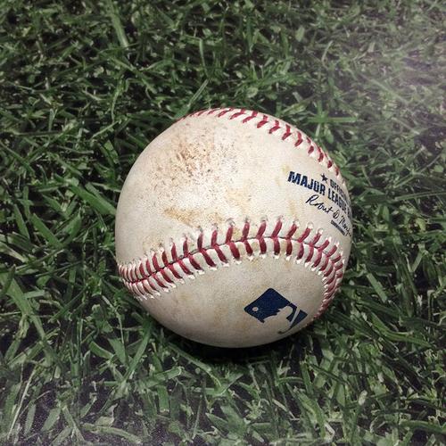 Photo of Game-Used Baseball 05/27/17 ARI@MIL - Tom Wilhelmsen to Orlando Arcia: Single