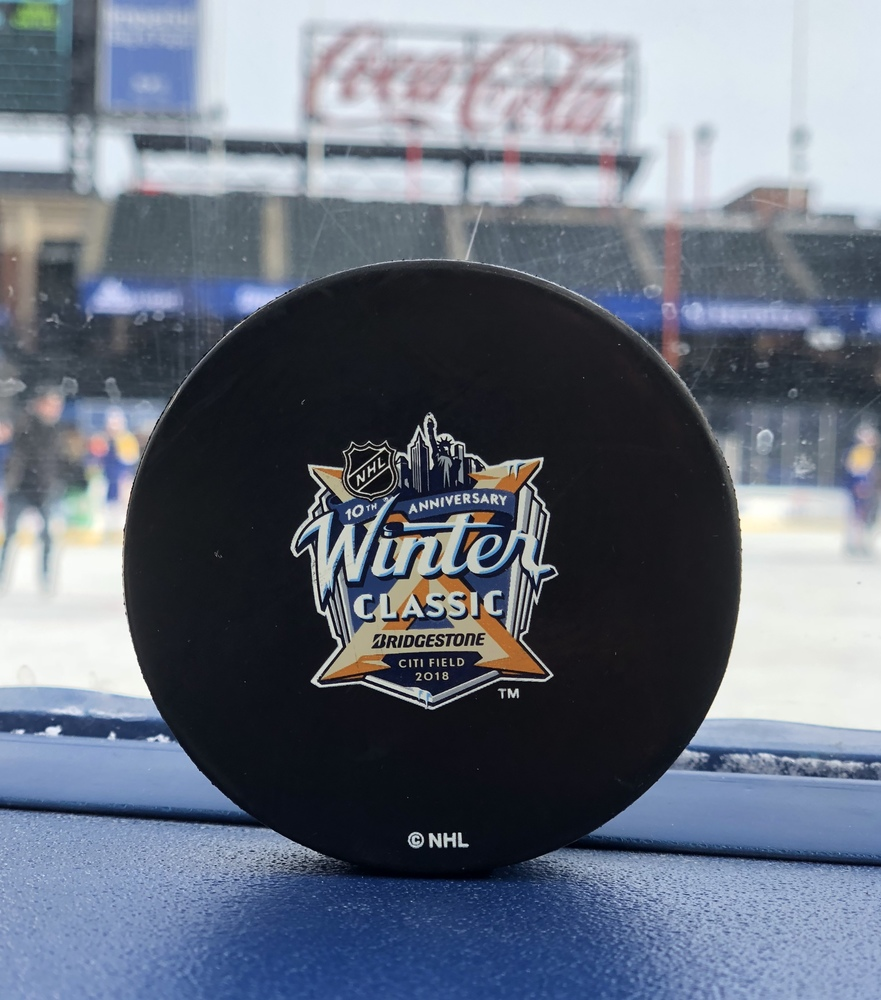 Buffalo Sabres 2018 NHL Winter Classic Practice-Used Puck - Used During December 31, 2017 Practice Session