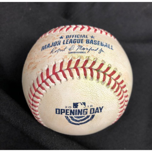 Photo of Anthony Rendon First Hit of 2018 Season -- Homer Bailey to Rendon (Single) -- 2018 Opening Day -- WSH vs. CIN on 3/30/18