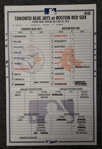 Photo of Authenticated Game Used Lineup Card - May 30, 2018 vs Boston Red Sox: J.D Martinez tied MLB Lead with 18 Home Runs