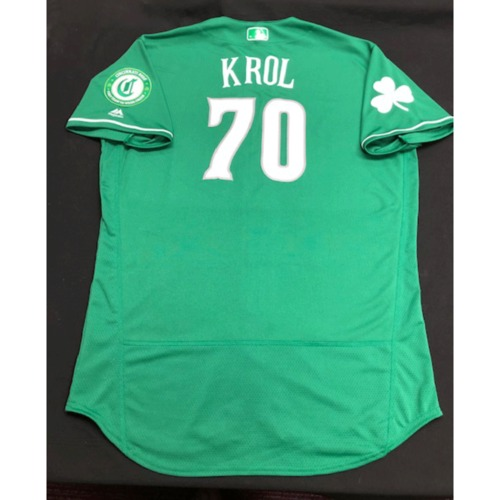 Ian Krol -- Game-Used Jersey -- 2019 St. Patrick's Day
