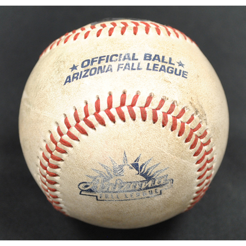Photo of Game-Used Baseball: 2019 Arizona Fall League - Pitcher: Gerardo Carrillo (LAD), Batter: Justin Dean (ATL) - RBI Single - Top 2 - 10/06/2019