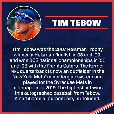 Tim Tebow Autographed Baseball