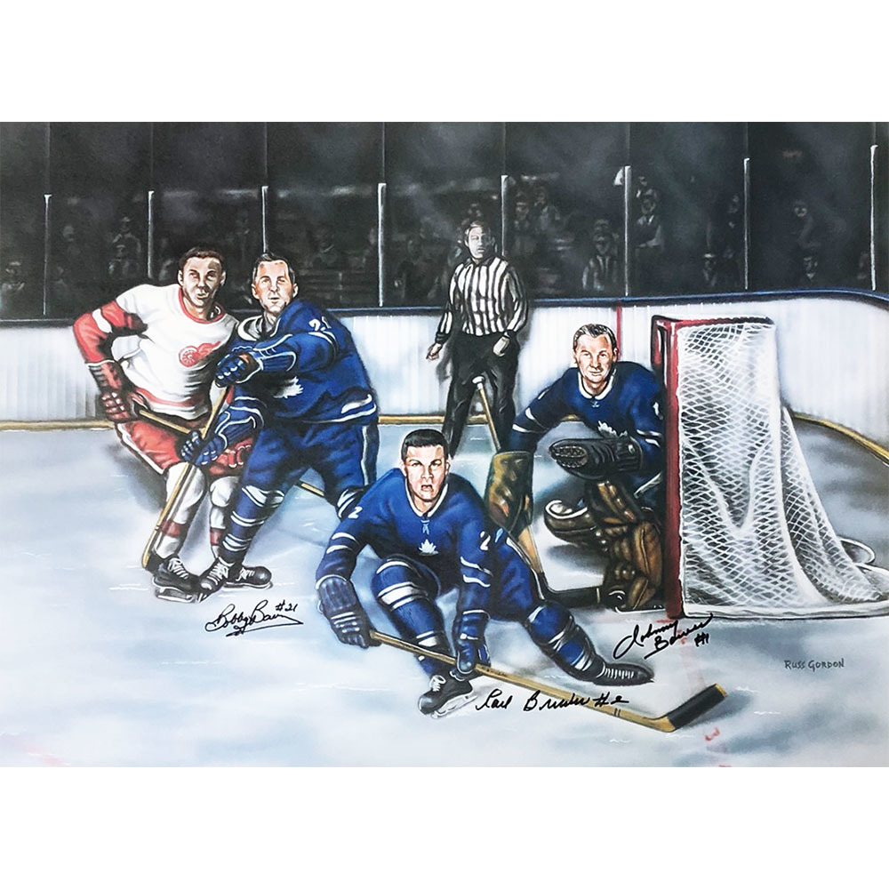 Bobby Baun, Johnny Bower & Carl Brewer Autographed Toronto Maple Leafs 18X24 Print