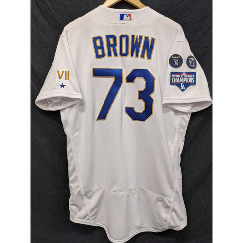 Photo of Brant Brown Team-Issued Gold Trim 2021 Opening Weekend Home Jersey