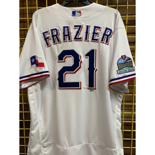 Photo of Todd Frazier Team-Issued 2020 White Jersey With Globe Life Field Inaugural Season Patch