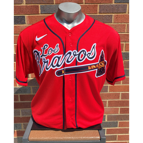 Photo of Ozzie Albies MLB Authenticated Game-Used Los Bravos Jersey