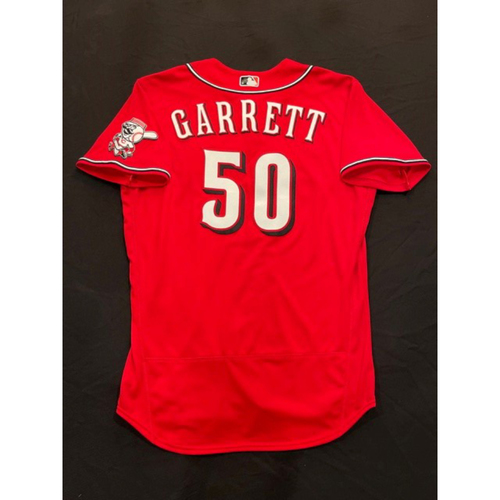 Photo of Amir Garrett -- 2021 Los Rojos Jersey -- Game Used from May 5 & Sept 24 (Relief Pitcher: 1.0 IP, 0 H, 0 R, 2 K) -- Size: 46