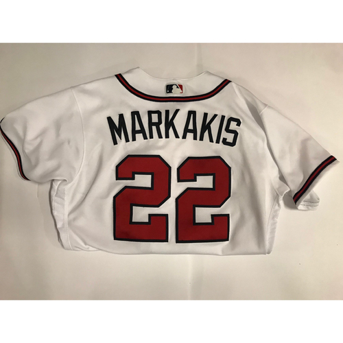 Photo of Nick Markakis Game Used Jersey Worn June 1, 2018 - 1,000th Career Run Scored