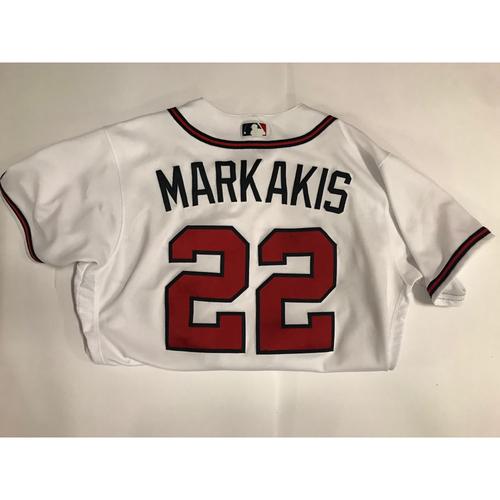 Photo of Nick Markakis Game Used Jersey Worn June 1, 2018 - 1,000th Career Run Scored