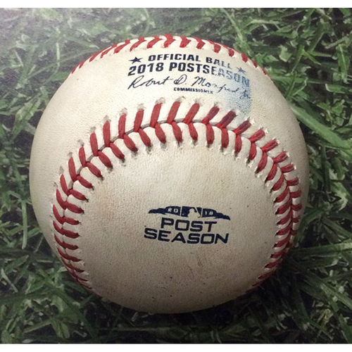 Photo of Game-Used Baseball NLDS Game 2 COL@MIL 10/05/18 - Seung Hwan Oh - Mike Moustakas: RBI Single (Yelich Scores)