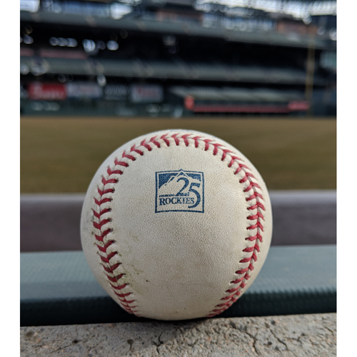 Photo of Colorado Rockies Game-Used Baseball - McGowin v. Iannetta -  Double (13) to Soto - September 30, 2018