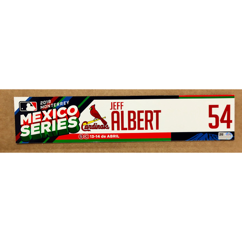Photo of 2019 Mexico Series - Game Used Locker Tag -Jeff Albert -  St. Louis Cardinals