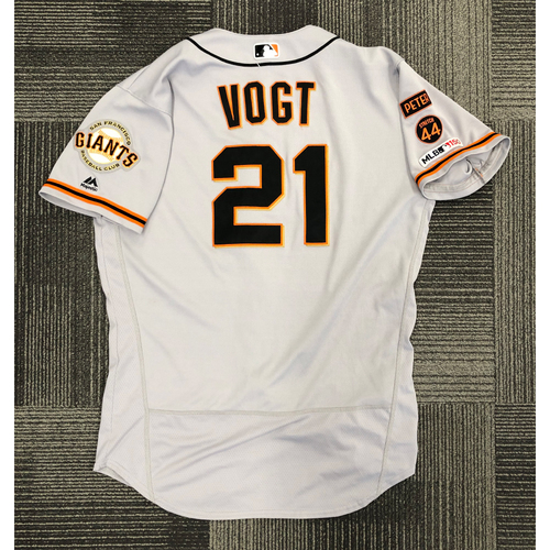 Photo of 2019 Game Used Road Jersey used by #21 Stephen Vogt on 7/17 @ COL - 2-4, HR, 2 RBI, 2 R, 2B & 7/30 @ PHI - PH HR - Size 46
