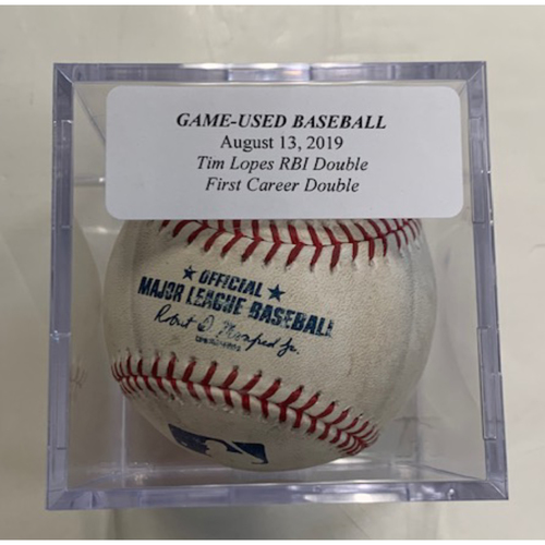 Game-Used Baseball: Tim Lopes RBI Double-1st Career Double
