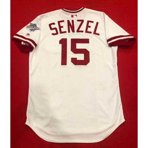 Photo of Nick Senzel -- Game-Used 1990 Throwback Jersey (Starting CF: Went 1-for-3, BB) -- Cardinals vs. Reds on Aug. 18, 2019 -- Jersey Size 46