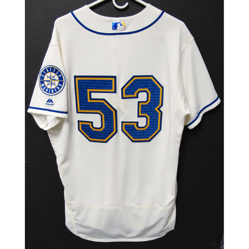 Photo of Seattle Mariners Dan Altavilla Game-Used Marineros Jersey (Salute to Latin American) 9-15-2019