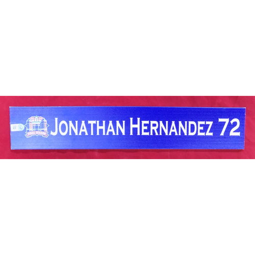 Photo of Final Season Game-Used Locker Tag - Jonathan Hernandez - 9/28/19