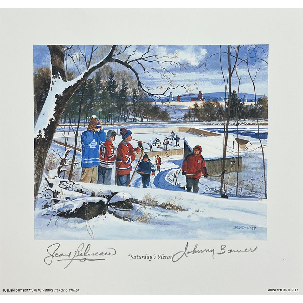Johnny Bower & Jean Beliveau Autographed 8.5X9 Lithograph - Saturday's Heros